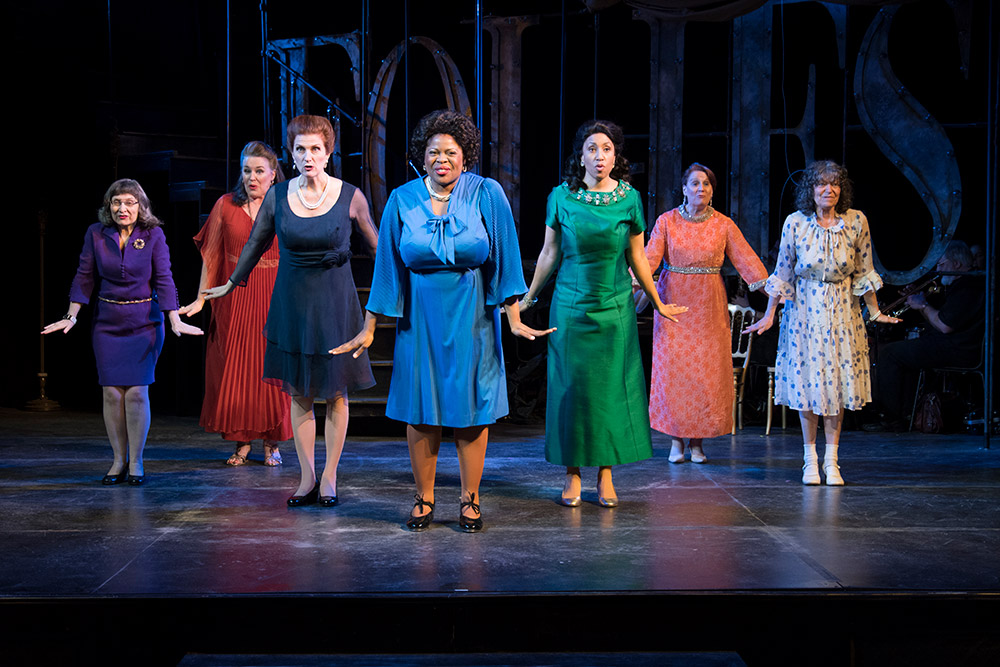 Andrea McCullough, Victoria Bundonis, Tina Stafford, LaDonna Burns, Marcie Henderson, Denise DeMars, and Rusty Riegelman in FOLLIES. Photo by Michael Dekker.